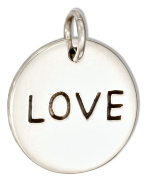 "Sterling Silver Round ""Love"" Message Charm"