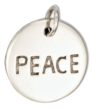"Sterling Silver Round ""Peace"" Message Charm"