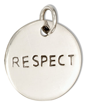 "Sterling Silver Round ""Respect"" Message Charm"