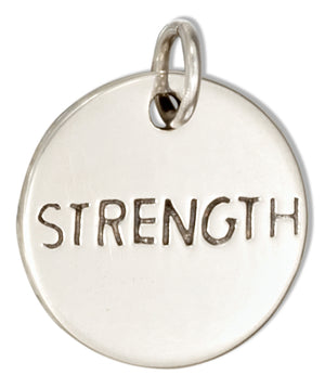 "Sterling Silver Round ""Strength"" Message Charm"