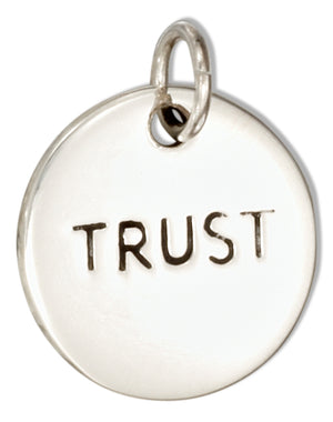 "Sterling Silver Round ""Trust"" Message Charm"