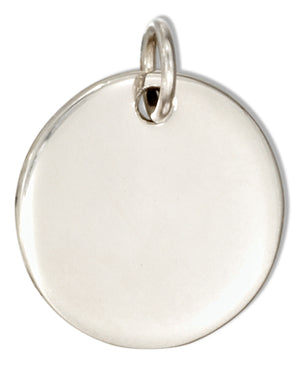 Sterling Silver Round Engravable Charm