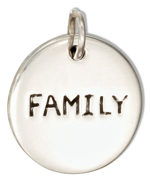 "Sterling Silver Two Sided Round ""Family"" ""Domus"" Message Charm"