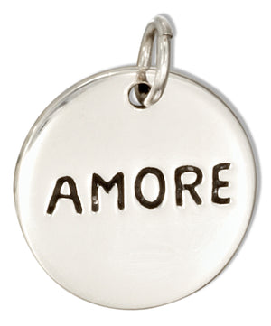 "Sterling Silver Two Sided Round ""Amore"" ""Love"" Message Charm"