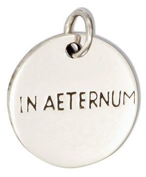 "Sterling Silver Two-sided Round ""In Aeternum"" ""Forever"" Message Charm"
