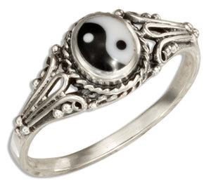 Sterling Silver Black and White Yin Yang Ring
