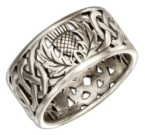 Sterling Silver Filigree Scottish Thistle Band Ring with Celtic Knots