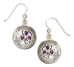 Sterling Silver Round Celtic Knot Earrings with Amethyst Shamrocks