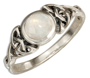 Sterling Silver Moonstone Ring with Celtic Knots