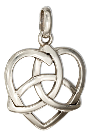 Sterling Silver Heart with Celtic Trinity Knot Pendant