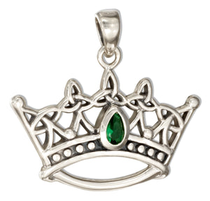 Sterling Silver Celtic Triquetra Trinity Knot Crown Pendant with Green Glass