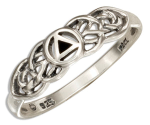 Sterling Silver Alcoholic Recovery Symbol Ring with Celtic Knots