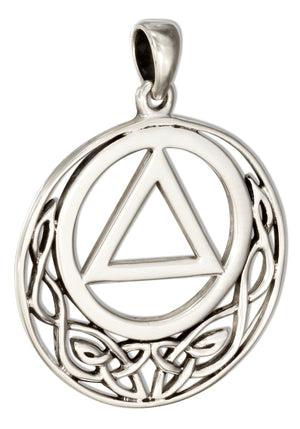 Sterling Silver Round Aa Recovery Symbol Pendant with Celtic Knots