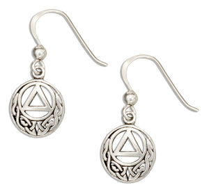 Sterling Silver Round Aa Recovery Symbol Earrings with Celtic Knots