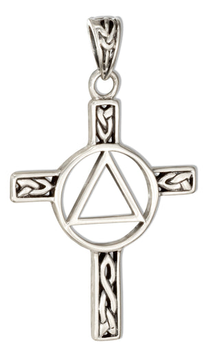 Sterling Silver Celtic Cross Aa Recovery Symbol Pendant