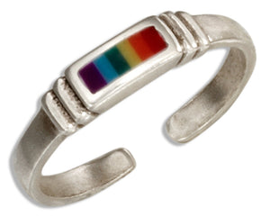Sterling Silver Adjustable Rainbow Stripe Toe Ring