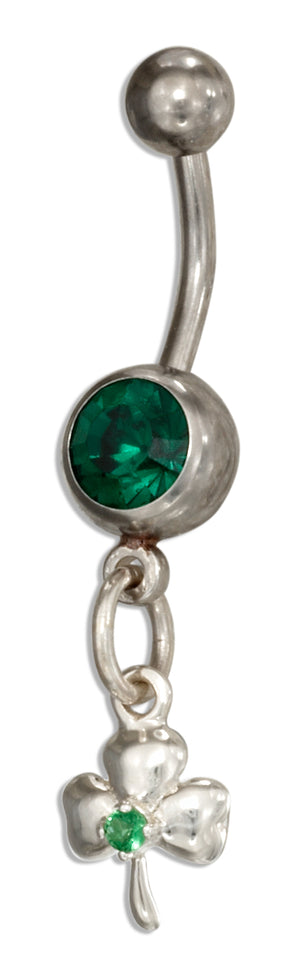 Sterling Silver and Surgical Steel Shamrock Belly Button Ring with Green Glass