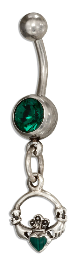 Sterling Silver and Surgical Steel Claddagh Belly Button Ring with Green Glass