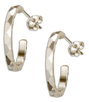 Sterling Silver Faceted Design Hammered 17mm 3/4 Hoop Earrings on Posts