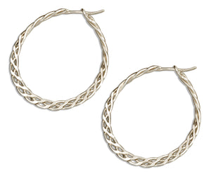 Sterling Silver 19mm Flat Celtic Weave Hoop Earrings