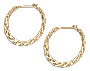 12 Karat Gold Filled 13mm Flat Celtic Weave Hoop Earrings