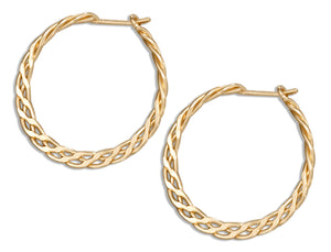 12 Karat Gold Filled 19mm Flat Celtic Weave Hoop Earrings