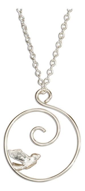 Sterling Silver 16 inch Spiral with Bird Necklace