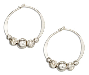 Sterling Silver 16mm Hoop Earrings with High Polish and Corrugated Beads