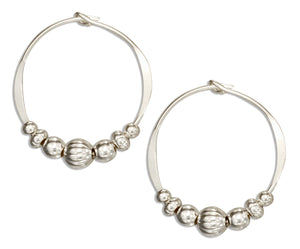 Sterling Silver 18mm Hoop Earrings with High Polish and Corrugated Beads