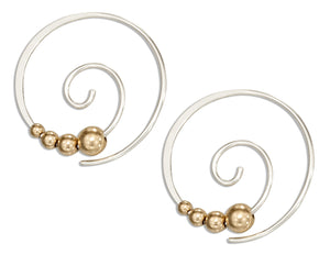 Sterling Silver 21mm Round Swirl Ear Threader with 12 Karat Gold-filled Beads