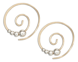 Sterling Silver and 12 Karat Gold Filled 21mm Round Swirl Ear Threader with Beads