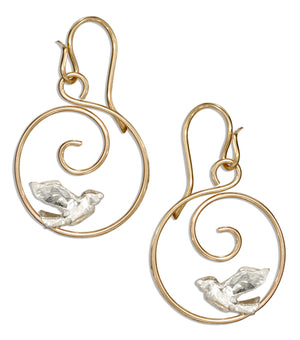 Sterling Silver and 12 Karat Gold Filled Round Swirl Hoop Earrings with Bird