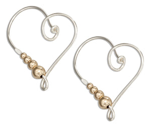 Sterling Silver Wire Heart Hoop Earrings with 12 Karat Gold Filled Beads