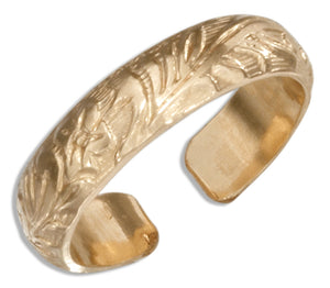 12 Karat Gold Filled Embossed Floral Band Toe Ring
