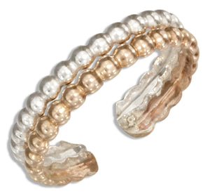 Sterling Silver and 12 Karat Gold Filled Double Row Beaded Band Toe Ring