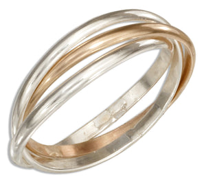 Sterling Silver and 12 Karat Gold Filled Three Band Slide Ring