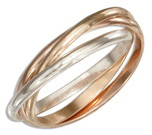 Sterling Silver and 12 Karat Rose and Yellow Gold Filled Three Band Slide Ring