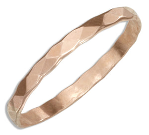 12 Karat Rose Gold Filled 2mm Flat Hammered Wedding Band Ring