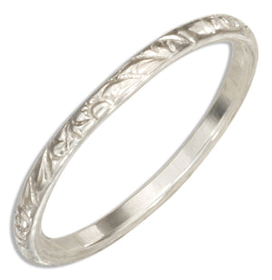 Sterling Silver 2mm Textured Wedding Band Ring