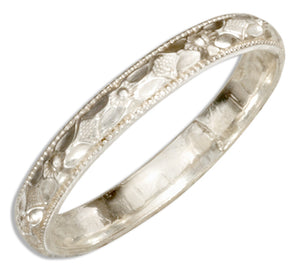 Sterling Silver 3mm Patterned Wedding Band Ring with Diamond Cuts and Milled Edges