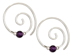 Sterling Silver Curly Swirl Spiral Ear Threader with Amethyst Bead