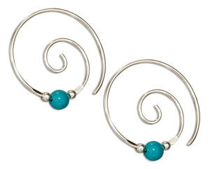 Sterling Silver Curly Swirl Spiral Ear Threader with Simulated Turquoise Bead