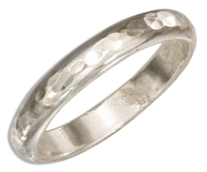 Sterling Silver 3mm Hammered Wedding Band Ring