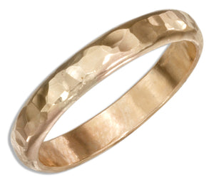 12 Karat Gold Filled 3mm Hammered Wedding Band Ring
