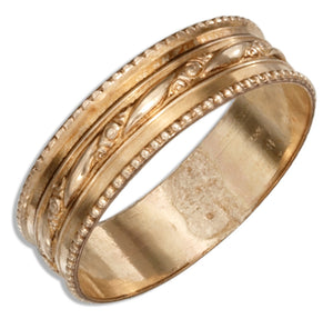 12 Karat Gold Filled Wedding Band with Floral Stripe & Beaded Edges