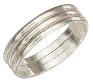 Sterling Silver Triple Band Wedding Band Ring