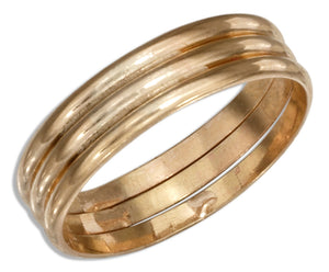 12 Karat Gold Filled Triple Band Wedding Band Ring