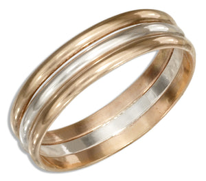 Sterling Silver and 12 Karat Gold Filled Triple Band Wedding Band Ring