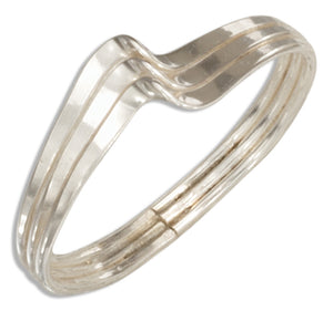Sterling Silver Wire Triple Wave Ring with Center Twist