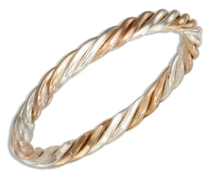 Sterling Silver and 12 Karat Gold Filled Wire Rope Band Ring